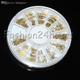 Wholesale Gold Metal Sticker Slices Wheel - Wholesale-New Wheel 120pcs Gold Nail Art Sticker Decoration Acrylic Tips Metal Slice Wheel Tiny Mixed Design Free Shipping