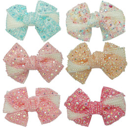 """Wholesale Diy Pink Ribbon - 4"""" High Quality Fashion Ribbon Hair Bow For Baby Girls Sweet Boutique Rhinestone Alligator Chips Pearl DIY Hair Accessories"""