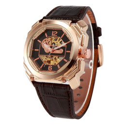 Wholesale Side Table Cover - Hot Brand OULM8 side rhombus men's mechanical watch leather casual table 2 color transparent bottom cover HP3218 watch