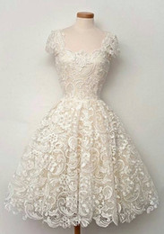 Wholesale Wedding Events Dresses - Luxury A-Line Lace Wedding Dresses Formal Square Off Shoulder Ruched Applique Custom Made Beach Vintage Events Women Bridal Gowns