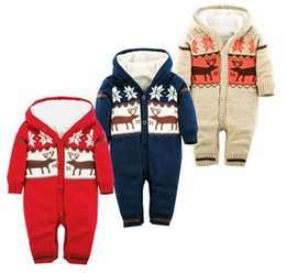 Wholesale Sweater Romper - Newbaby Deer Romper Long sleeve Hooded sweater Jumpsuits Christmas infant climbing clothing baby clothes thicken winter clothes