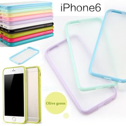 Wholesale Galaxy S3 Clear Hard Cases - New Slim TPU+PC Candy Color Transparent Clear Matte Frosted Hard Case Cover Shell for iPhone 6 6S Plus 5 5S 4S 5C Galaxy S5 S4 S3 MOQ:20pcs