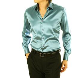 Wholesale mens dress shirt classic - discounted shirts Wholesale Mens Fashion silk Designer shining loose Dress man Shirts Tops West sexy men tee shirts M L XL 2XL dropshipping
