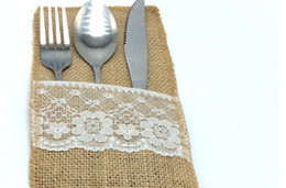 "Wholesale Vintage Cutlery - Vintage 4""x8"" Hessian Burlap Lace Wedding Tableware Pouch Cutlery Holder Decorations Favor Table Decoration & Accessories"