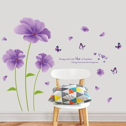 Wholesale Fantasy Decals - purple fantasy flowers butterfly leaf pvc wall stickers for kids rooms living room bathroom decor wall decals poster