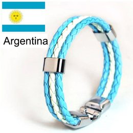 Wholesale Bangles Pictures - Wholesale-SQUARE BUCKLE bracelet,Argentina country picture,blue and white leather cuff bracelet,2015 match year bracelets&bangles