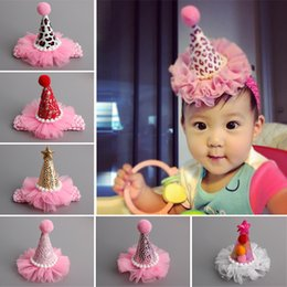 Wholesale Diy Mini Hats - Wholesale- Fashion Mini Felt Glitter Multi Styles Cute Crown Hats with Headbands Clips For Baby Girls Birthday Party DIY Hair Accessories