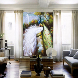 Wholesale Large Peacock Wall Art - Elegant Mural photo Wallpaper Large Size Silk cloth Charms Peacocks wall art Door Bedroom Hallway Childrens Rooms Free shipping