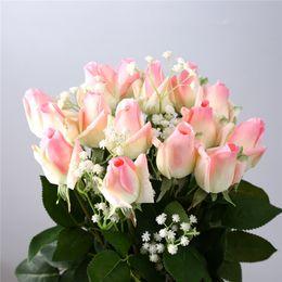 Wholesale Single Stem Roses - PU Rose Flowers Single Long Stem Bouquet Beautiful Simulation Flower Wedding Wall Wedding Bouquet Home Decoration Party Accessory