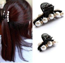 Wholesale Diamond Hair Gripper - South Korean imports of hair ornaments Korean pearl diamond ladies hair caught gripper diamond hairpin Hair Accessories
