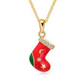 Wholesale Beautiful Socks - Christmas Series Red Socks Pendants Necklace Rose Plated Beautiful Charm Xmas Gift Fashion Jewelry Chain 20 inch
