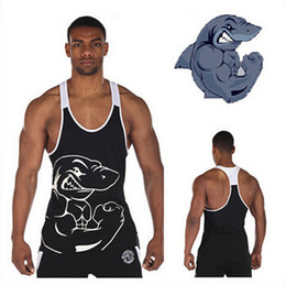 Wholesale Mens Vest Tank Tops - Brand gym shark vest clothes fitness mens muscle bodybuilding undershirt tank tops men gymshark sleeveless singlet clothing