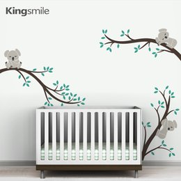Wholesale Tree Branch Wall Decals Removable - Cute 3 Koalas Tree Branches Nursery Wall Art Decals Removable DIY Vinyl Wall Stickers Poster for Baby Kids Rooms Home Decor