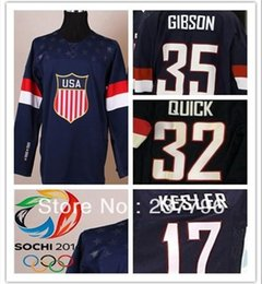 white navy uniforms Promo Codes - 2014 Sochi Team USA #35 John Gibson #17 Ryan Kesler #32 Jonathan Quick Jersey Custom American Navy Blue Ice Hockey Uniform