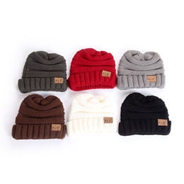 Wholesale children tie dye - New Arrival Children Hedging Hat Wind Proof Winter Protection Wool Knitted Beanie Solid Color Skull Caps Black 8 5lz B