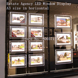 Wholesale Led Display Signs Wholesale - A3 Double Sided Real Estate Agent Window Display Crystal Frame Led Signs Light Boxes