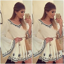 Wholesale Embroidery Dresses For Women - 2015 Sexy Plus Size Bell sleeve Summer Dresses for Women Party Mini Sun Dress Short dress White Club Dresses casual dress