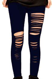 Wholesale Slash Leggings - 2016 New Women Black Shredded Leggings Fashion Slim Long Trousers Sexy Slashed Slit Hole Plus Size Ripped Leggings Skinny Pants XL XXL E7826