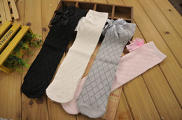 Wholesale Dance Knee High Socks - Autumn Spring Baby Girls Thigh High Over Knee Socks Cotton Stockings Children Cute Lace Princess Solid Color Dance Tight