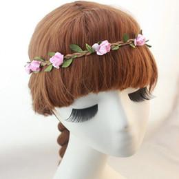 Wholesale Leather Headbands Wholesale - 2015 Bride Bohemian Flower Headband Festival Wedding Floral Garland Hair Band Headwear Hair Accessories for Women mx0727