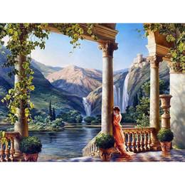 Cachoeiras lona de óleo on-line-Pintura a óleo Digital por números paisagem parede decoração imagem na lona pintura a óleo para colorir by número desenho cachoeira artesanato