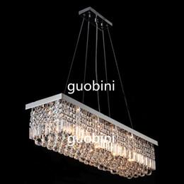 Wholesale Multiple Art - Modern Rectangular Crystal Chandelier Dining Room Length Multiple Size LED Cyrstal Pendant Light Ceiling Lamp Chandiliers Lighting