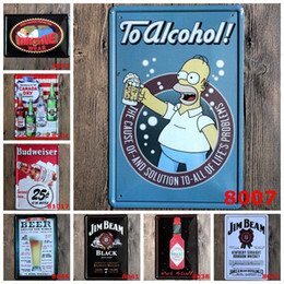 Wholesale Cafe Wall Art - To Alcohol Wine Cartoon Metal paintings Vintage House Cafe Restaurant Beer Bar Poster Metal signs Free Shipping