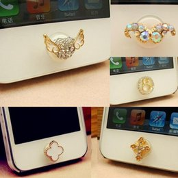 Wholesale Cross 4s - 5 Different Styles New moustache Plum Wing Eight Cross Bling Diamond Home Button Sticker for iPhone 4s 4 5 ipad