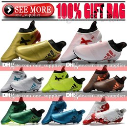 Wholesale Low High Heels Shoes - Original New Messi 16+ Pureagility Football Boots High Tops X 17 Purechaos FG Tango TF IC Indoor Soccer Shoes X 16 Purechaos Soccer Cleats
