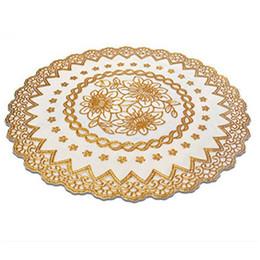 Deutschland Großhandel-Gold Stamping PVC wasserdicht Tischsets Coaster europäischen Stil hitzebeständigem Tisch Matten 4 Stück (rund) Versorgung