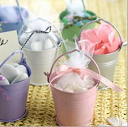 Wholesale Metal Favor Pail Candy - New Arrival 12 Colors Mini Tin Pails Favor Gift Candy Box For Wedding Baby Shower Party Supplies Free Shipping