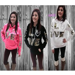Wholesale women winter clothing - Autumn Winter Women's Hoodies With LOVE Letter Print Hooded hoodie Fashion Clothing Women Long Sleeve Sports Outfit