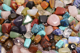 Wholesale Natural Gemstones Pendants - Wholesale Lots Jewelry Natural gemstone Stone mixed Pendants Loose Beads Fit Bracelets and Necklace Charms DIY #B03