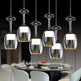 Wholesale Led Modern Wine Glass Lighting - LED Pendant Lights Cup Design Wine Glass Modern LED Hanging Lamp for Dinning Living Room Bar Saloon Luminaire Lamparas 3Wx6
