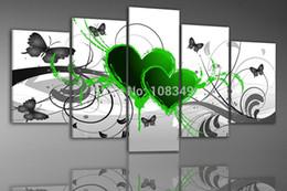 Paysage vert peinture à l'huile en Ligne-Peint à la main mur de l'huile photos vert papillon volant fleur décoration de la maison paysage encadré peinture à l'huile de peinture 5pcs / set