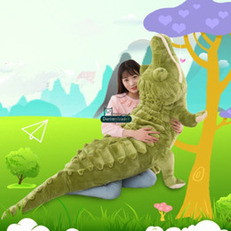 Wholesale Realistic Soft Toys - Dorimytrader Biggest Realistic Lying Animal Crocodile Plush Toy Soft Stuffed Alligator Doll Pillow Gift for Kids Decoration 200cm DY61901