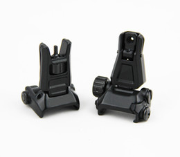 Wholesale Rifle Front Sight - Tactical GEN3 Metal Front Rear Backup Folding Sight For PTS with Marking Black