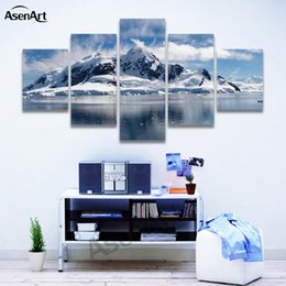 Wholesale mountain wall painting - 5 Panels Snow Mountain Landscape Painting Printed on Canvas Modern Home Wall Decor for Living Room Ready to Hang Dropshipping