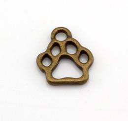 Discount paw charm bronze - Hot ! 200pcs Antique bronze Alloy Hollow Paw Print Charm Pendant DIY Jewelry 11x13mm