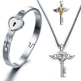 Wholesale Couples Lock Key Bracelet - Titanium Steel Lovers Open Heart Lock Bangles Key Pendant Necklace Couples Charm Jewelry Set Women Accessories Men Bracelets