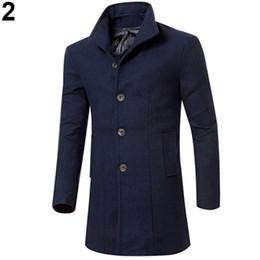 china trench coat Desconto Atacado- China Estilo Moda Masculina Slim Fit Longo Trench Coat Blusão Jaqueta Botão Lapela Outwear