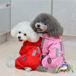 Wholesale Reflective Overalls - WX02 Designer Pink Red Reflective Pet Clothes For Small Dog Raincoat Puppy Clothes Clothing For Dogs Overall Pets Jumpsuit