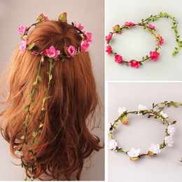 Wholesale Fabric Wreath - Party Wedding Bridesmaid Floral Flower Garland Forehead Hair Garlands Bride Wedding Hairband Bridal Wreath Flowers Rattan 11 Colors