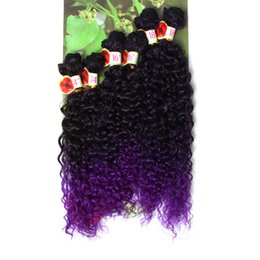 Wholesale Hair Full Head Curly Weaves - 14-18 inch ombre purple blonde Synthetic hair curly hair extensions 6pcs lot Full Head Use Kinky curly weave Synthetic hair weave bundles