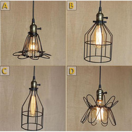Wholesale Wrought Iron Ceiling Lights - 4 Style Srustic Wrought Iron Black Chandelier Lighting Ceiling Fixture Industrial Pendant Light With Bulb