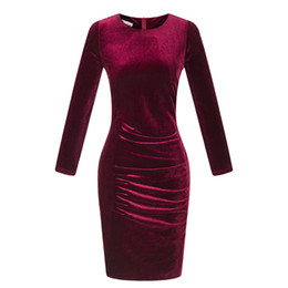 Wholesale Korean Bandage Dress - S-3XL Korean Fashion Gold Velvet Pencil Dress Women Vintage Long Sleeve O-neck Slim Winter Bandage Dress 2017 Vestidos
