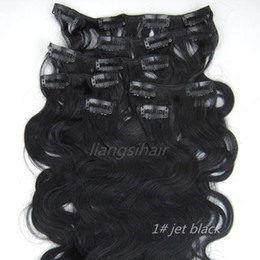 "Wholesale Virgin Hair Clip Wavy - Body Wavy Style 15""-26"" 7pcs 1# Jet Black Clip in human Hair Extension Brazilian Peruvian Malaysia Indian virgin Remy human Hair Bundles"