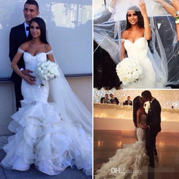 Wholesale Off Shoulders Wedding Gowns - Glamorous 2016 Fashion Mermaid Wedding Dresses Tiered Skirts Off the Shoulder Sexy Bridal Gowns Lace Ruffles Pearls Wedding Dress