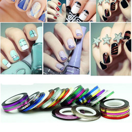 Wholesale Color Tape Rolls - Wholesale - 21 Color Striping Tape Line Nail Art Sticker Decoration Self-adhesive Rolls Dropshipping