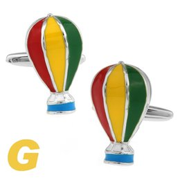 Wholesale Wholesale Hot Air Balloon Plates - High Quality New Classic Silver Copper Mens Wedding Cufflinks Novelty Rar e Fancy Hot Air Balloon & Clean Cloth 170976 170977 170978